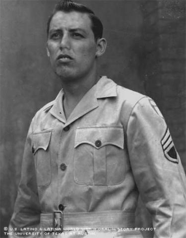 Mike Aguirre, California, 1943 dressed in Army uniform.