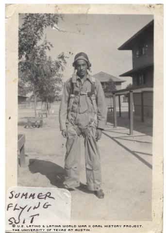 Joseph Autobee in Summer flying suit.