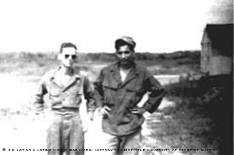 Ernesto Calderon (right) and Terrell A. Guillory (left) seen here at Clark Field on the Philippines Island of Luzon. The two served at Clark Field and coincidentally grew up in the same neighborhood in Waco, Texas. 1948