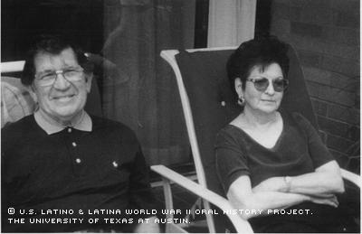 Mr. Thomas Cantu and his wife Claudia R. Cantu enjoy the afternoon outdoors on the patio of their Corpus Christi home.