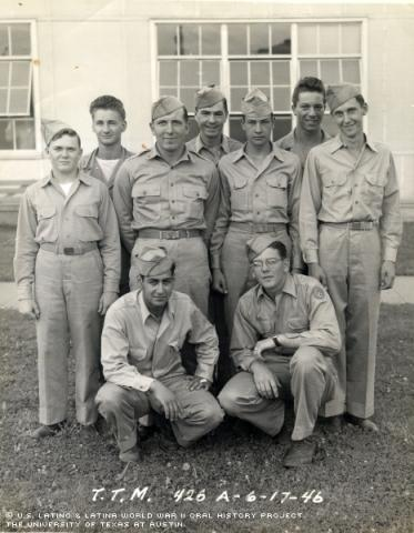 Joe (left kneeling down).  The picture was taken early in 1946 at Scott, Field, in Villerville, Illinois-now called Scott Airforce.  The abbreviation Tele Type Mechanic (T.T.M.) 426.