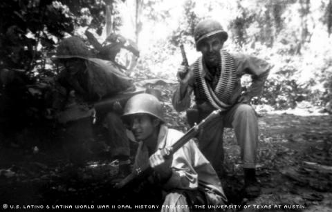Andrew Esparza (left), Pinky Escoto (middle),and Shultz Wiht (right)in Bougainville Island in the South Pacific,June 1944.