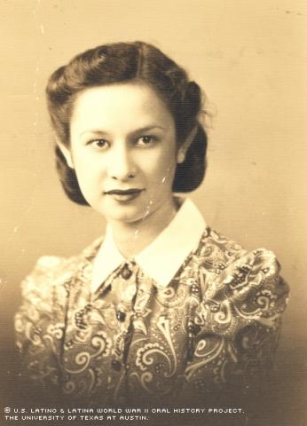 Rafaela Esquivel, studio photograph. Esquivel served as a nurse in the ARMY Nurse Corps with the 242nd General Hospital in Sissone, France during World War II.