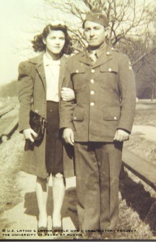 Johnnie W. Flores and Josephine Adams, Philadelphia, Pa. 1943. Johnnie was killed in action in Germany on Dec. 12, 1944.