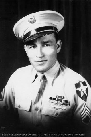 Julian Gonzales as a Sergeant in WWII in 1945. Photo taken in San Antonio, TX.