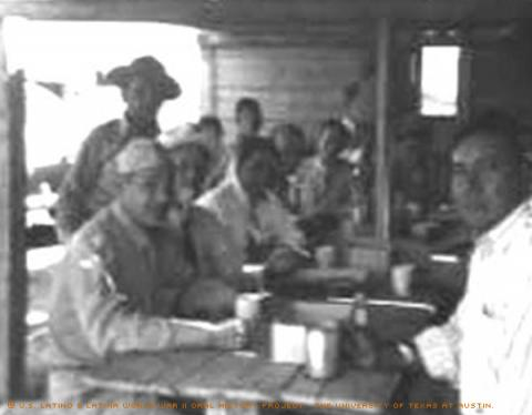 Julius Joesph (left closest to camera)and his unit at Camp Bullas in San Antonio, TX in 1941.