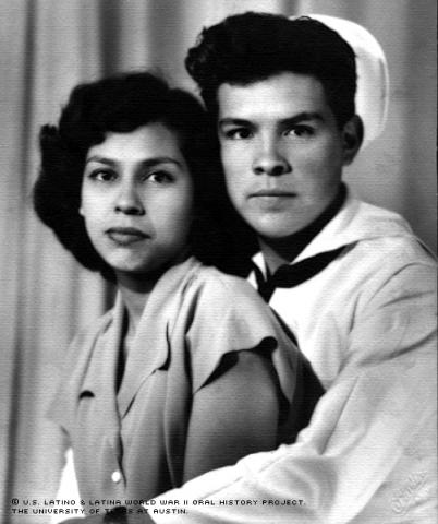 Alvino Mendoza and Rebecca Vasquez pose for a studio photograph in Austin, Texas, in April of 1946 before the two were married. Mendoza was on his last leave at home.