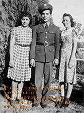 1942 - The first time Mary (right) had seen her brother, who went into the Army in 1941, in uniform.  Sandy Olvera, her sister in law (married to brother Snow Olvera) is at Herman's left.