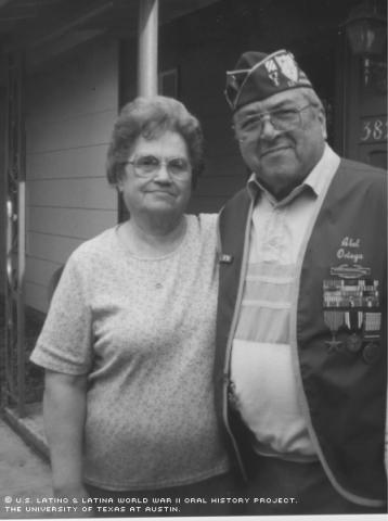 Abel and Naomi Ortega (wife) outside their home in San Antonio, Texas. March, 2001.