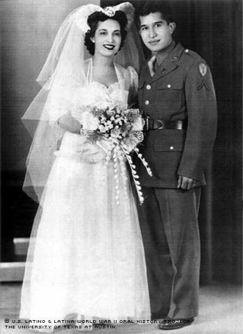 Bertha and Edward Prado on their Wedding Day, Dec. 9, 1942.