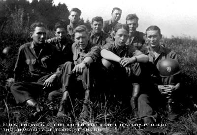 Reginald Rios (second row, first on left) and the 79th Infantry Division, 6th Section Cannon Company.