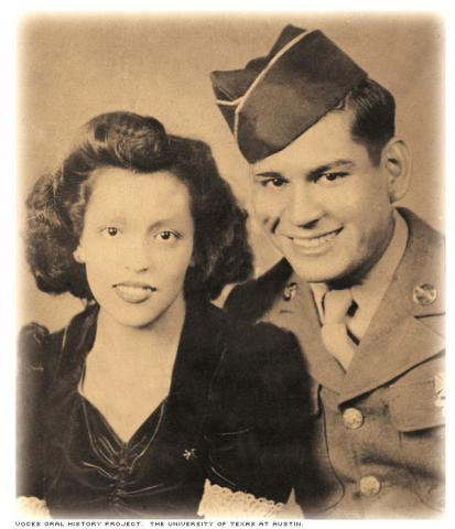 Mrs. Alicia Salinas Segura and her husband, Mr. Frank Segura, 1943.