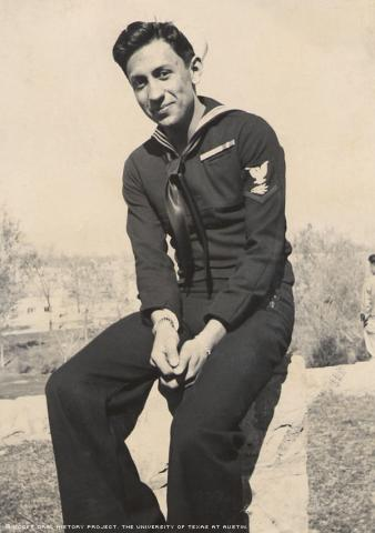 Gilbert P. Sanchez poses in Roosevelt Park in Albuquerque, N.M., in 1943. Sanchez served in the U.S. Navy during World War II.