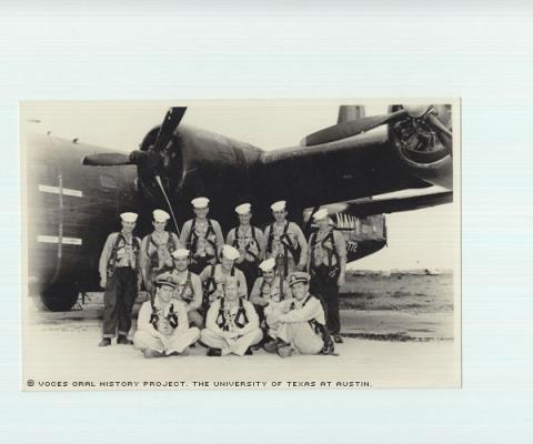 Crew #11 VP772-ATSUG1-NAS. Fernando del Rio standing 2nd from the left. 1951 March, NAS Atsuqi, Japan. Passing from crew #11 VP772 squadron PB$Y2 aircraft patrol Navy squadron.\We were the fist Navy Reserve Squadron to fly combat over Korea.""""