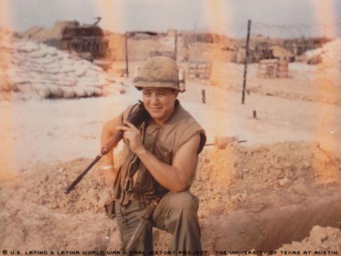 Robert Alonzo Rivera photographed in Con Thien Vietnam, while resting after a fire fight in November, 1968.