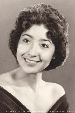 Rita Brock-Perini attended St. Mary's High School in Phoenix, Arizona. This photograph was taken in 1956 for her senior yearbook.