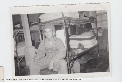 November 23, 1956. Placido at the Barracks at FE Warren AFB, WYO.\Just a rare moment relaxing.""""
