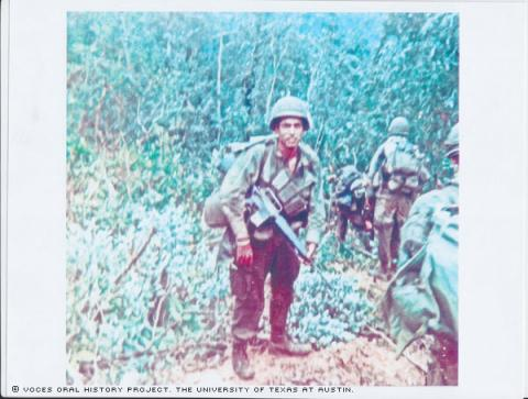 Dan Hinojosa and Gary Tarden in the Ashua valley in North Vietnam around September or October of 1969. They were on patrol on a search and destroy mission.