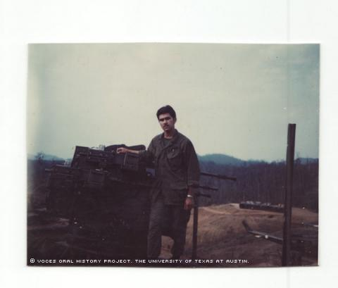 Raymond Garcia at the Vietnam fire base Bastonge Ashaw Valley about February of 1970.