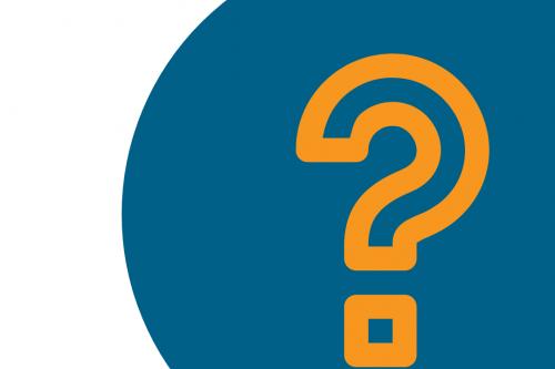 Orange Question mark on blue circle