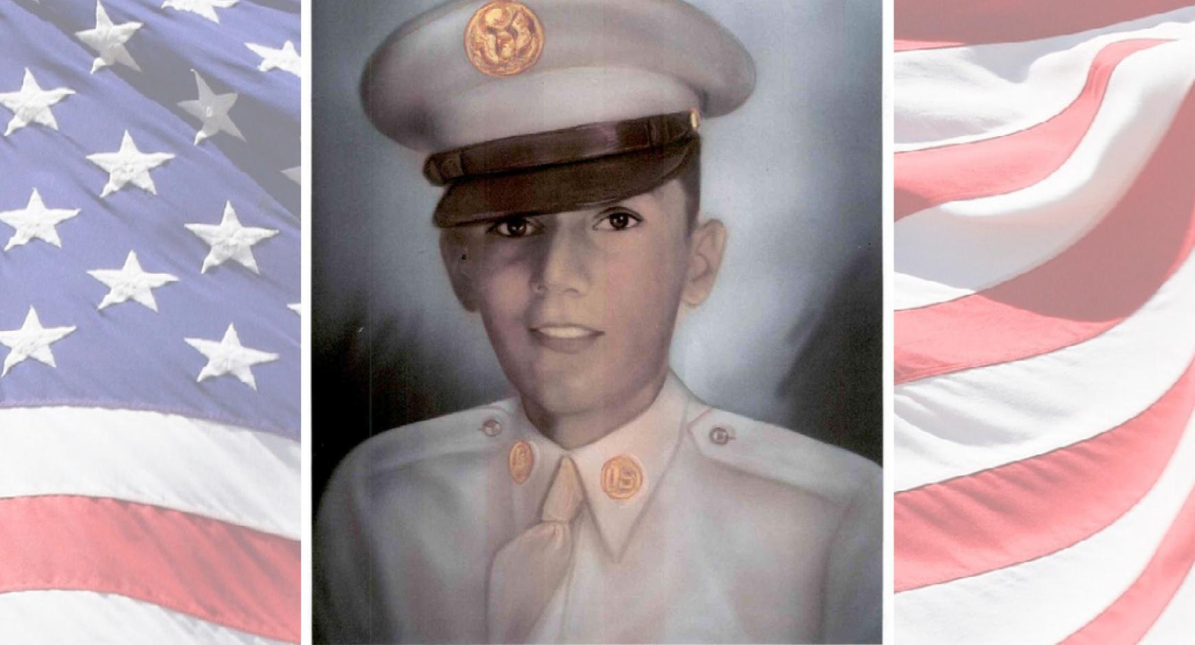 Abel Ramirez portrait, black and white, on an american flag background