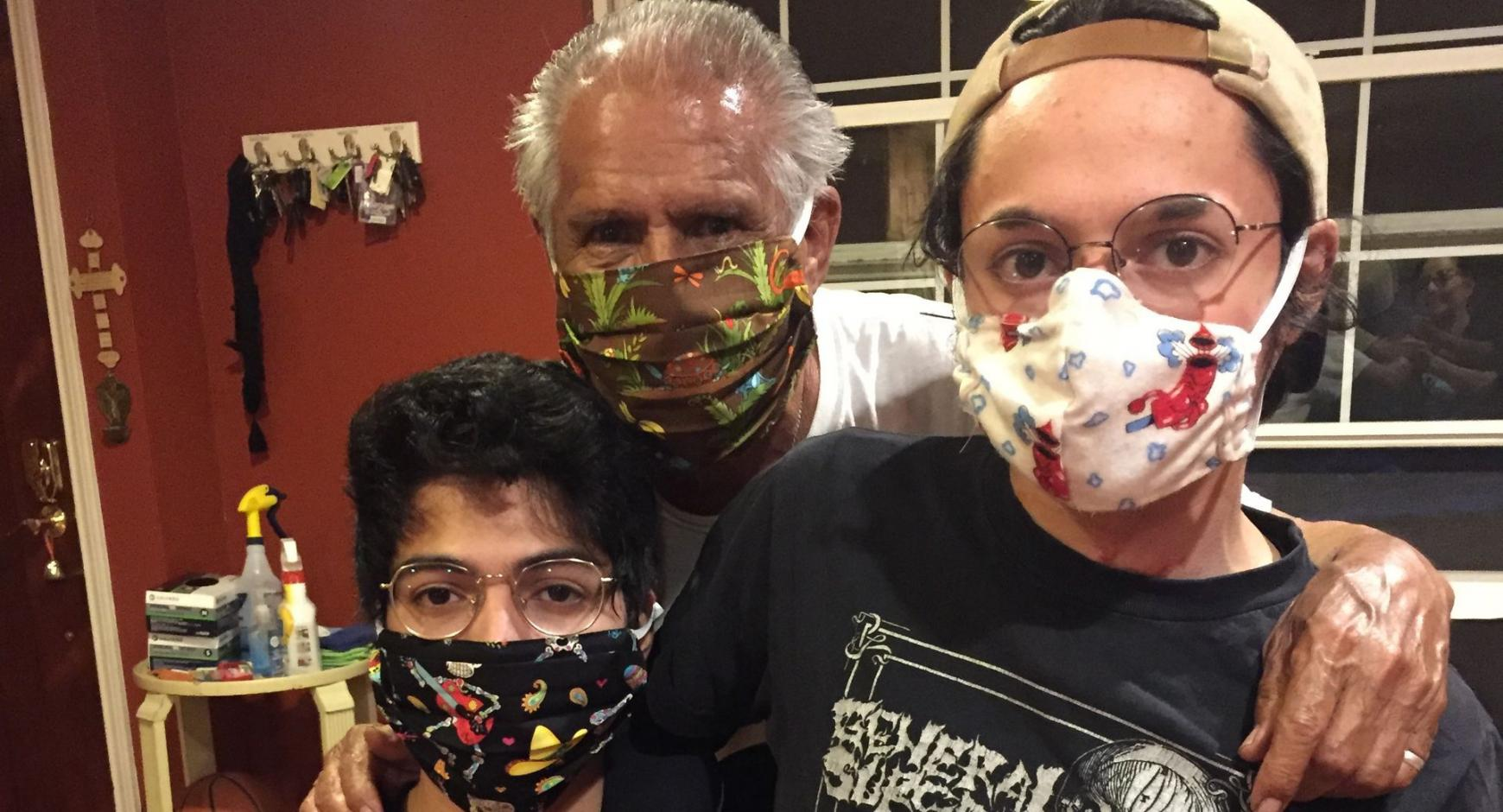 Rodriguez family, three individuals of varying ages, wearing masks