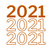 """Graphic burnt orange with """"2021"""" repeated 3 times"""